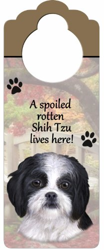 Shih Tzu Puppycut, Black and White Wood Sign