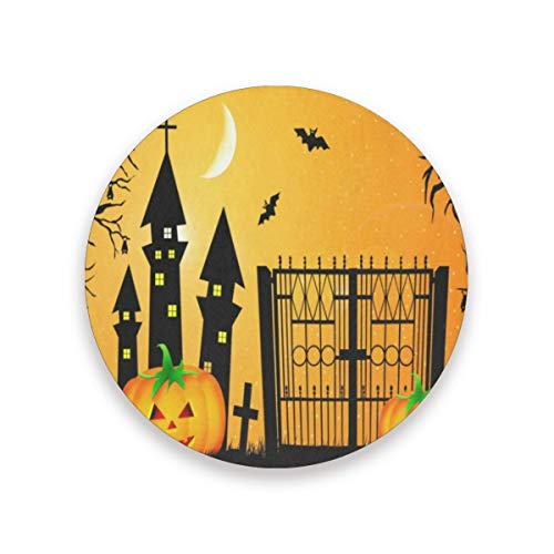 Coasters for Drinks,Halloween Pumpkin Cool Ceramic Round Cork Trivet Heat Resistant Hot Pads Table Cup Mat Coaster-Set of 4 Pieces]()