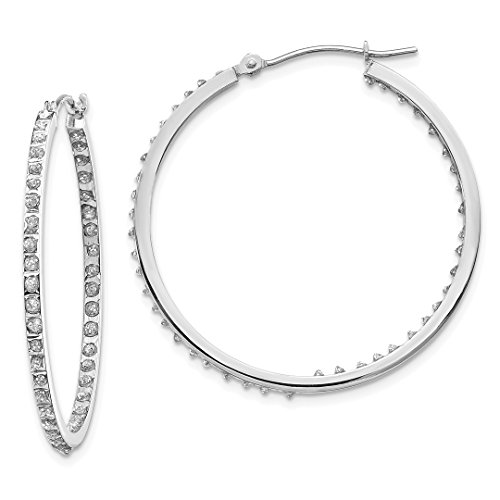 14k White Gold Diamond Fascination Round Hinged Hoop Earrings Ear Hoops Set Fine Jewelry For Women Gift Set ()