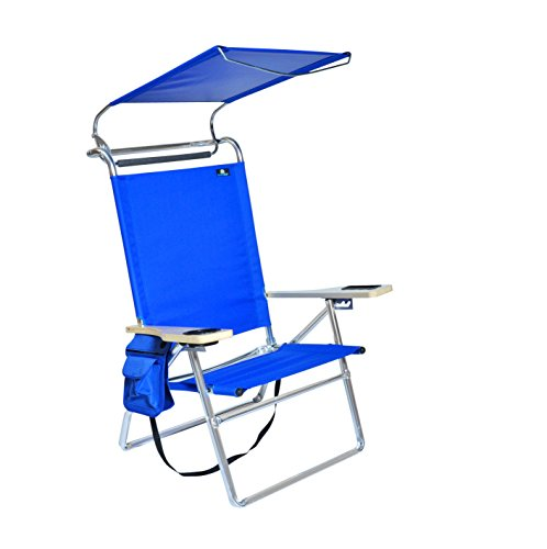 BeachMall Deluxe 4 Position Aluminum Beach Chair with Canopy and Storage Pouch