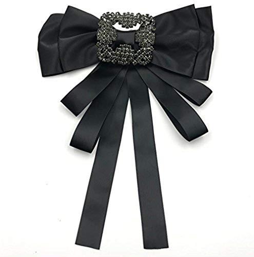 Ribbon Crystal Pre-Tied Neck Tie Brooch Pin Bow Tie Patriotic Collar Jewelry Giftbow tie (Black)