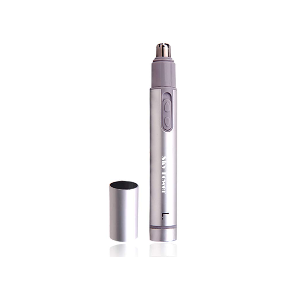 Sky Tower Professional Electric Nose Nostril Nasal Hair Trimmer for Men Women, with Vacuum Cleaning System, Quality Stainless Steel, IPX7 Waterproof, Mute Motor, Wet/Dry, Battery-Operated