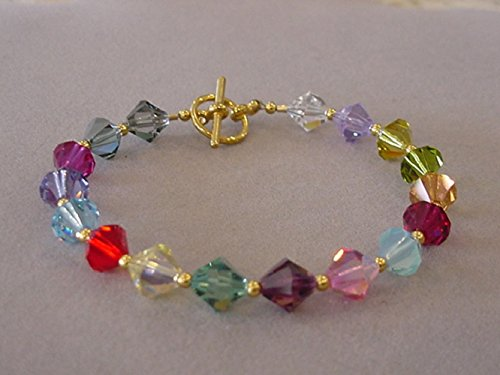 76bdb1f43297a3 Image Unavailable. Image not available for. Color: MULTI-COLOR SWAROVSKI  Crystal Bracelet Gold Plated Rainbow ...