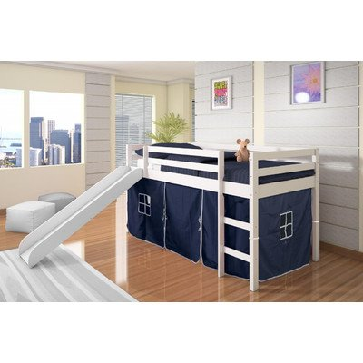 Twin Tent Loft Bed with Slide Finish: White, Color: Blue