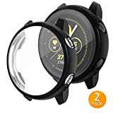 Tensea Compatible with Galaxy Watch Active Case, 2 Packs Soft TPU Bumper Full Around Screen Protector Cover for Samsung Galaxy Watch Active 40mm (Black)
