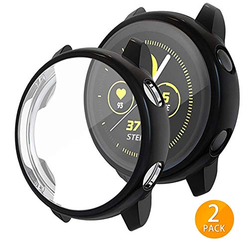 Tensea Compatible with Galaxy Watch Active Case, Soft TPU Bumper Full Around Screen Protector Cover for Samsung Galaxy Watch Active 40mm, 2 Packs (Black)