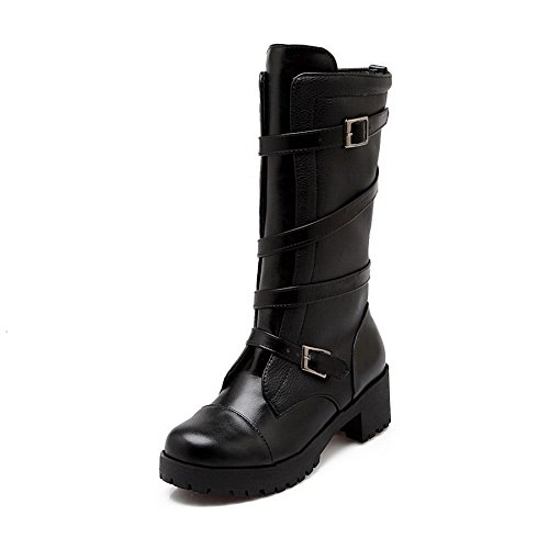 1TO9 Girls Chunky Heels Buckle Platform Imitated Leather Boots