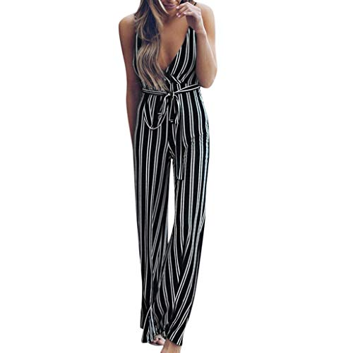 Summer Long Strip Jumpsuits Women Backless Halter Neck Strapless Party Jumpsuit Bodysuit Trousers by Gyouanime Navy