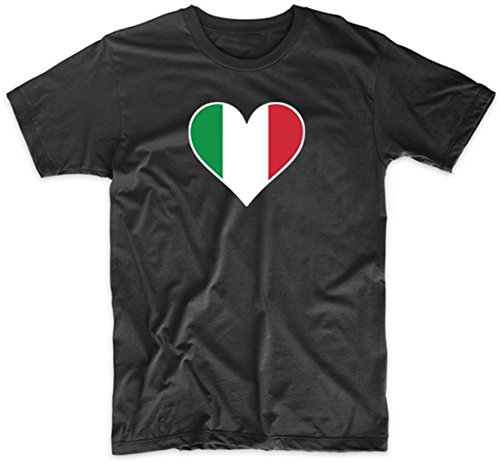 Italian Flag Heart Italy Love T-Shirt, XXL Black