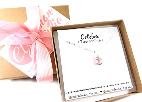 - October Birthstone Pink Tourmaline Necklace - Sterling Silver Briolette Teardrop Jewelry - Gift for Her