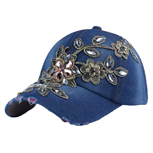Denim Glittered Rhinestone Baseball Caps for Women Fashion Lace Flower Snapback Hats Bling Sparkle Hip Hop Trucker Hat