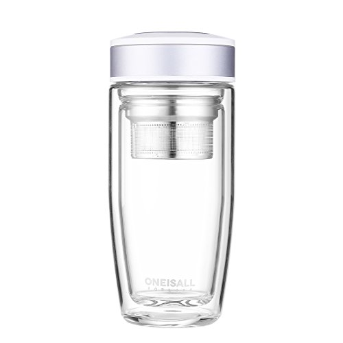 ONEISALL Tea Infuser Water Bottle Double Wall Glass Tea Tumbler with Strainer for Loose Leaf Hot Cold Drink, 380ML (Silver Grey)