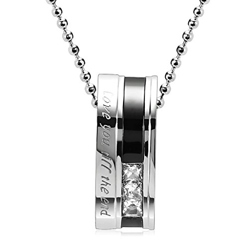 Epinki Stainless Steel Couple Necklace Matching Rings