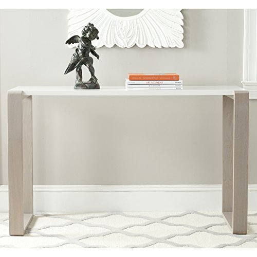 Safavieh Home Collection Bartholomew Mid-Century Modern White and Grey Lacquer Console Table (Console Parsons Table)
