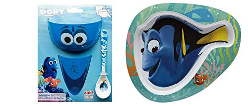 (Finding Dory Zak Kids 4 Piece Bundle - Includes 1 Each Small Bowl, Spoon, Cup & Plate)