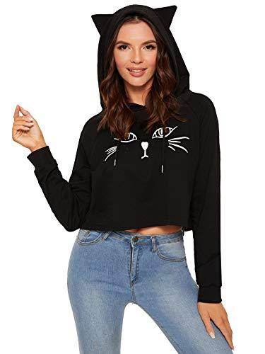 SweatyRocks Women's Long Sleeve Hoodie Crop Top Cat Print Sweatshirt