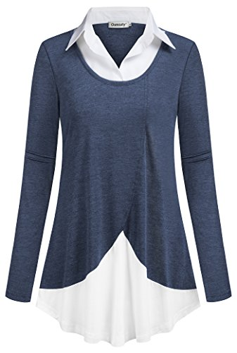 Ouncuty Tunic Tops for Leggings for Women, Girls Fashionable Long-Sleeved Polo Collar Pure Color A-Line Combination Embellished Hem Dressy Blouses for Tights Shorts Capri Cropped Jeans Blue Large by Ouncuty