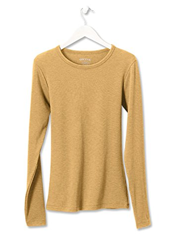 Orvis Women's Long-Sleeved Crewneck Perfect Tee, Heathered Honey, Medium