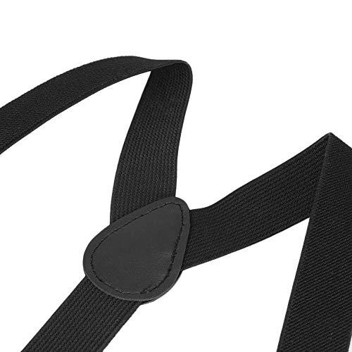 Nihlsen Adjustable Brace Clip-on Adjustable Unisex Pants Braces Straps Fully Elastic Y-Back Suspender Belt for Children Black