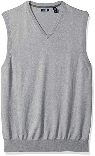 IZOD Men's Big and Tall Premium Essentials Solid V-Neck 12 Gauge Sweater Vest, New Light Grey, 2X-Large