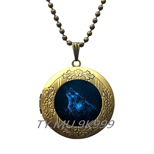 Yao0dianxku Howling Wolf Locket Necklace, Blue Wolf Locket Pendant, Glass Cameo Locket Pendant Cabochon Tile Locket Necklace Jewellery, Wolf Silhouette, Handmade Jewelry, Gift Idea.Y115 (2)