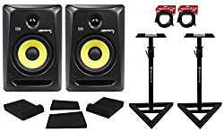 "(2) KRK RP6-G3 Rokit Powered 6"" Powered Studio Monitors+Stands+MOPAD+2 Cables from KRK"