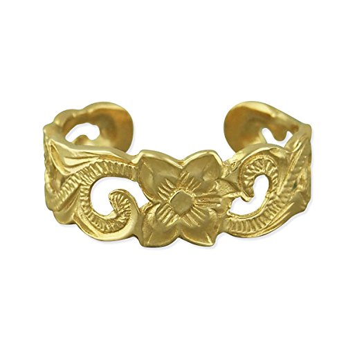 14kt Yellow Gold Plated Sterling Silver Scroll Filigree Toe Ring (14kt Filigree Ring)