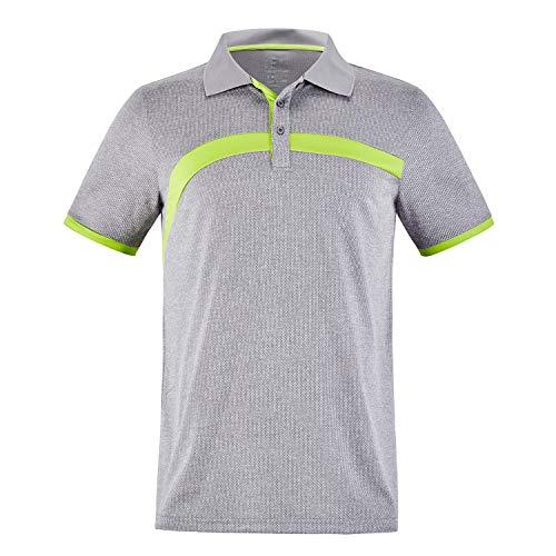 ZITY Men's Polo Shirt Lightweight Cool Dri-Fit Sweat-Wicking Color Block Short Sleeve Sports Golf Tennis T-Shirt Grey&Yellow-2XL