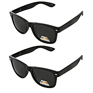 Wayfarer Classic Sunglasses Polarized Shades for Men Women Horn Rimmed 80's Retro Vintage Fashion Sun Glasses rivets unisex shades (2 Black, 2PACK)