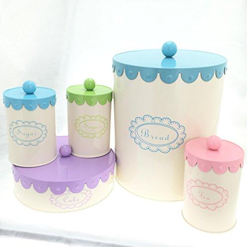 (5 Piece Set Containers, Bread Box, Cake, Coffee, Tea & Sugar Canisters - Cream Complete Kitchen Organizer)