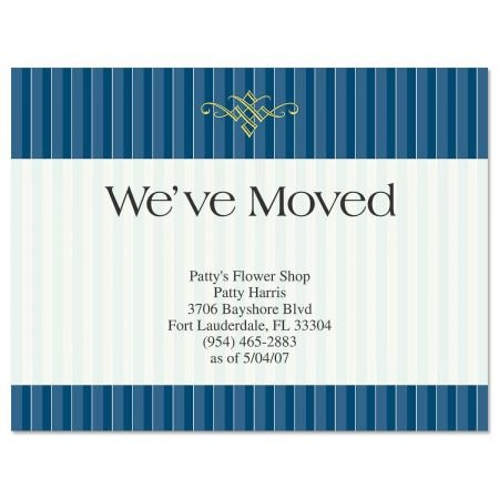 Navy Pinstripe We've Moved Postcards - Set of 24 5-1/4