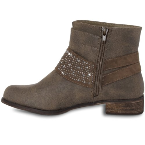 Femme Brillants Métal En Vintage Avec Pour Marron Rivets Bottines Caspar 8wqHnFtS8