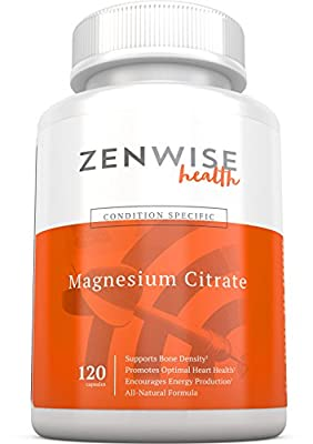 Magnesium Citrate Supplements – All Natural Heart, Bone & Nerve Support - Digestive Relief for Men, Women & Kids - Daily Booster of Energy, Metabolism & Muscle Health - 229 MG - 120 Vegetarian Caps