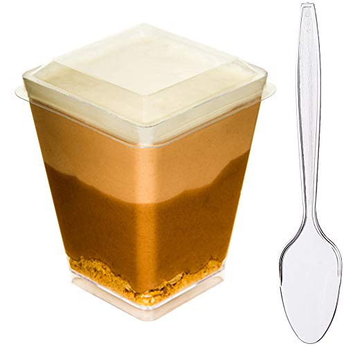 DLux 40 x 5 oz Mini Dessert Cups with Lids and Spoons, Square Large - Clear Plastic Parfait Appetizer Cup - Small Disposable Reusable Serving Bowl for Tasting Party Desserts Appetizers - Recipe Ebook]()