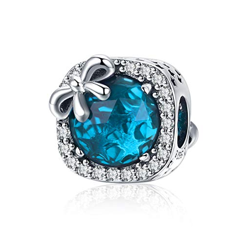 BAMOER 925 Sterling Silver Charm Radiant Blue Birthstone Bowknot Crystal Bead Charm for European Bracelet Necklace