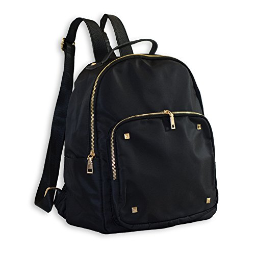 Cute Black Fashion Backpack for Girls Designer Bag, Nylon with Gold Zippers and Studs