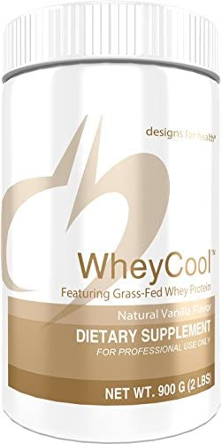 Designs for Health WheyCool – Vanilla Grass Fed Whey Protein Powder with 23g Protein 30 Servings 900g