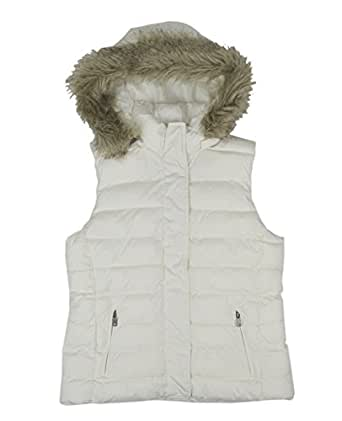 Banana Republic Women's Faux-Fur Puffer Vest White Medium