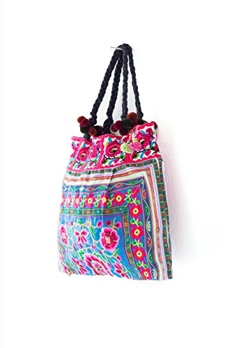 Tote Worm Blue Fabric Size Changnoi Bag Embroidered Hill Unique Tribes Hmong Silk Large 7x6naPI