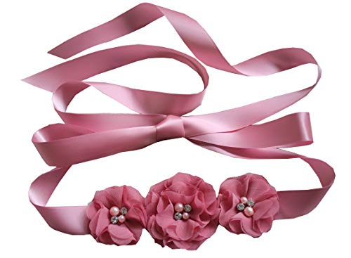 (Bridesmaid and Flowergirls sashes wedding sash pearls flowers belts (Dusty pink))