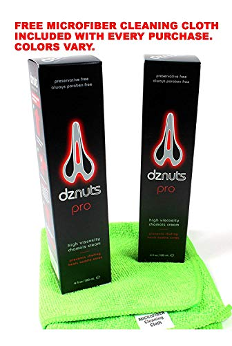 2-Pack of DZNUTS Pro Chamois Cream 4oz tubes with Free Microfiber Cloth