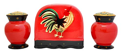 Tuscany Modern Burnt Orange Rooster Hand Painted Napkin, Salt & Pepper Set, 85028 by ACK