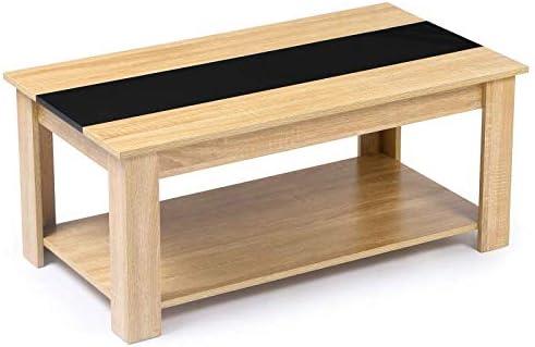 Idmarket Table Basse Contemporaine Bois Facon Hetre Et Noir