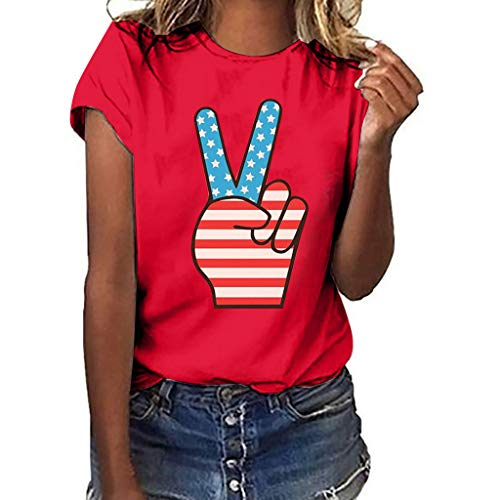 - JUSTnowok Women Tops Plus Size Love Gesture Print Short Sleeve T-Shirt Independence Day Casual Tee Blouse Tops Red