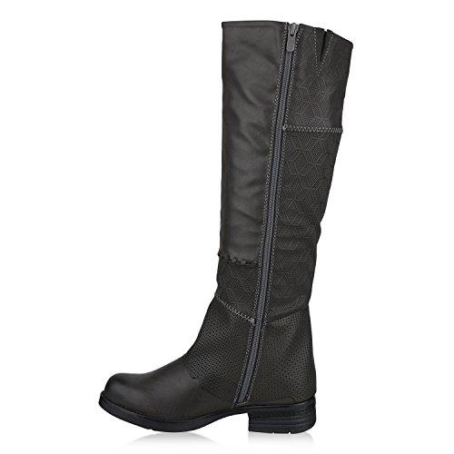 Stiefelparadies Damen Reiterstiefel mit Blockabsatz Nieten Zipper Flandell Grau Carlton