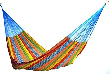 Hammocks Rada The Ultimate Mayan Relaxation Hammock Perfect for 1 to 3 People Comfortable, Beautiful, Hand Made in The Yucatan Outdoor Indoor Hammock Bed Multicolor Family Size
