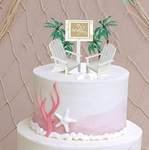 - Mikash Love Sign with 2 White Small Mini tive Adirondack Plastic Beach Chair Wedding Anniversary Cake Tion Toy Toppers     Model WDDNG - 2082