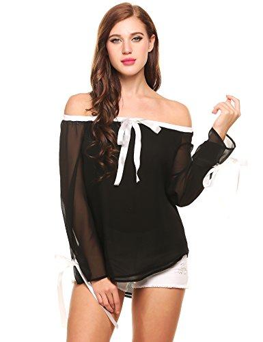 Zeagoo Women Summer Casual Off Shoulder Chiffon Blouse Flare Long Sleeve Shirt Tops (Cheap Sexy School Girl Outfits)