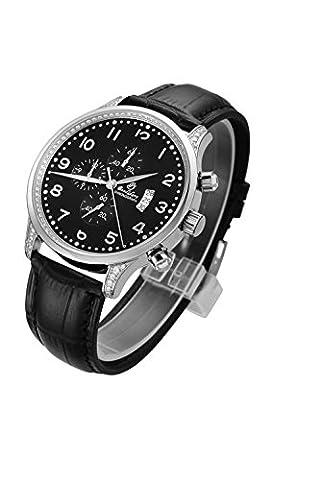 Men's Sports Chronograph Waterproof Date Synthetic Sapphire Diamonds Quartz Black Leather Watch - Chronograph Synthetic Sapphire