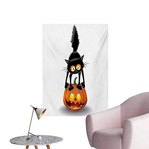 Anzhutwelve Halloween Wall Paper Black Cat on Pumpkin Drawing Spooky Cartoon Characters Halloween Humor ArtOrange Black W24 xL36 Poster Paper -